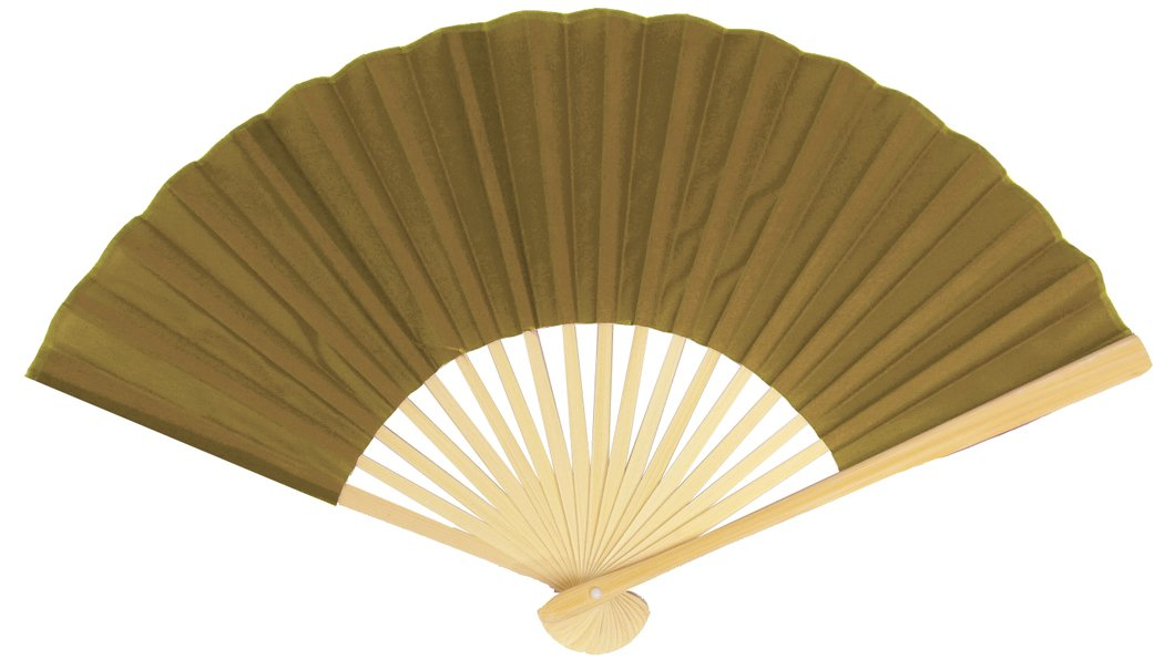 "BLOWOUT 9"" Olive / Brown Green Silk Hand Fans for Weddings (10 PACK)"