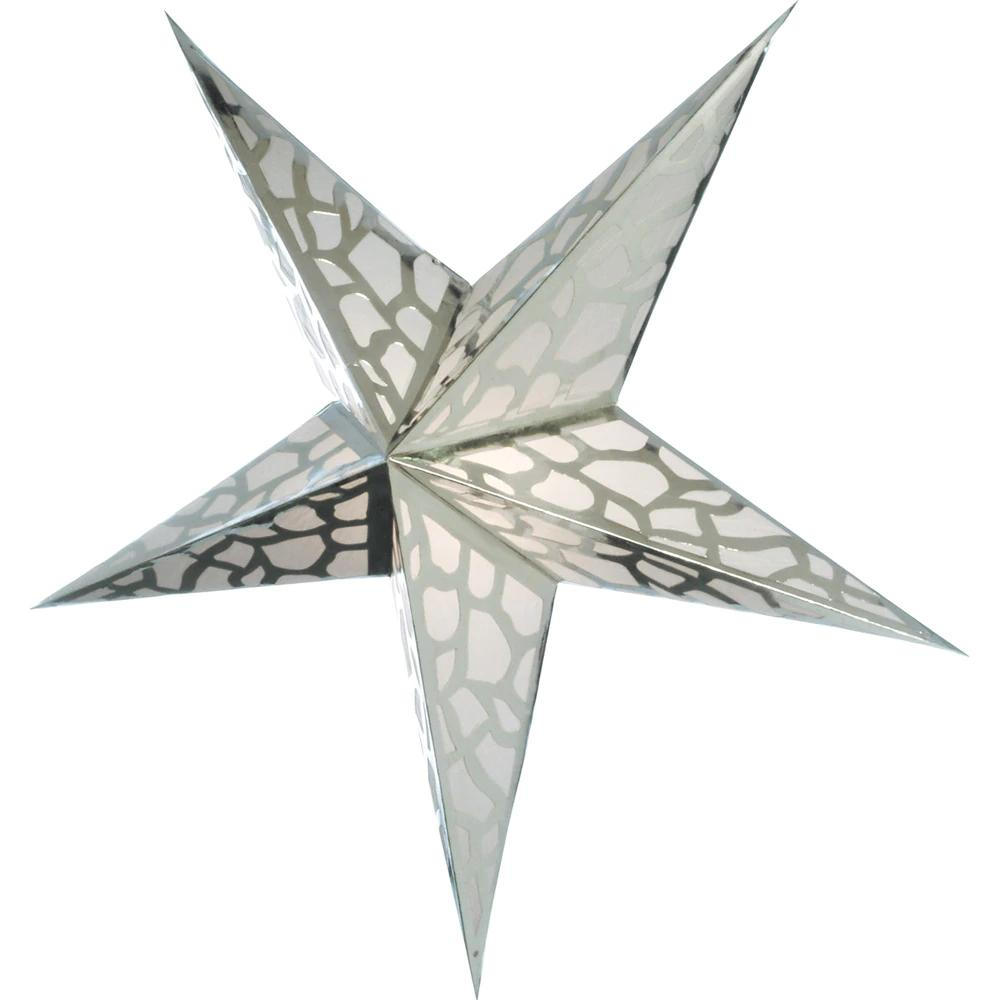 Cultural Intrigue Paper Star Lantern (24-Inch, Platinum Silver) - For Home Decor, Parties, and Holiday Decorations