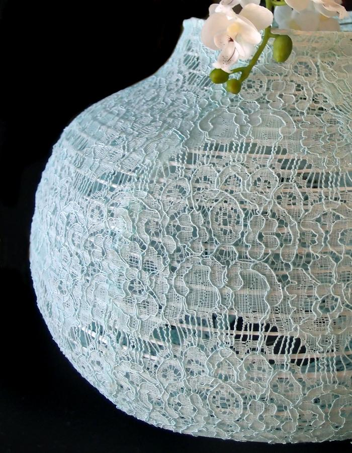 "BLOWOUT 14"" Cool Mint Green Lace Fabric Psytker Bell Lantern"