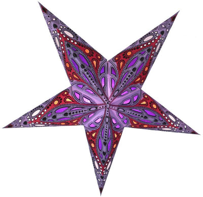 "24"" Lavender Purple Exotic Dahlia Paper Star Lantern, Chinese Hanging Wedding & Party Decoration"
