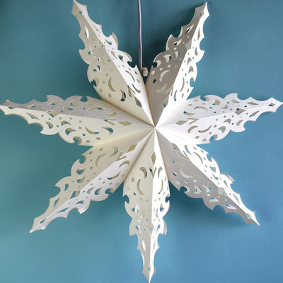 Pizzelle Paper Star Lantern (32-Inch, White, North Star Snowflake Design) - Holiday and Snowflake Decorations, Weddings, Parties, and Home Decor