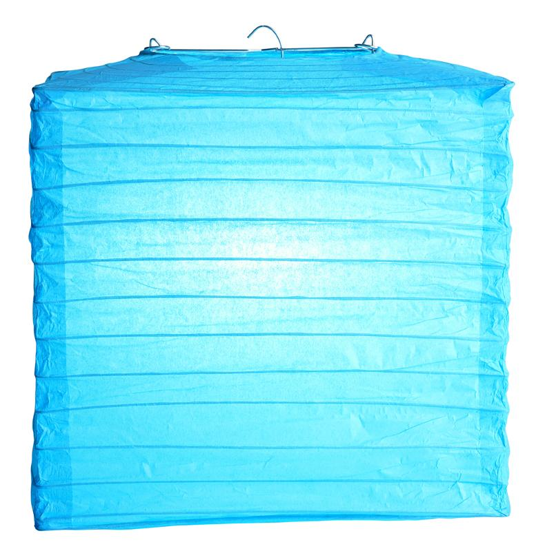 "10"" Turquoise Square Shaped Paper Lantern"