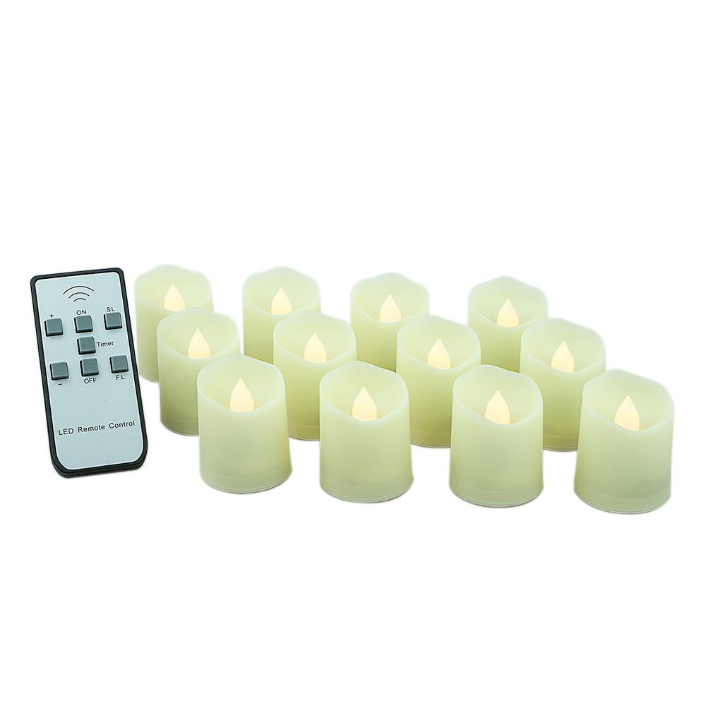 Long-Lasting Flameless LED Battery Operated Tea Lights w/ Remote Control, Timer, Dimmable, Weatherproof (12-PACK)