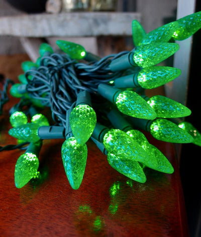 BLOWOUT 70 Outdoor Green LED C6 Strawberry String Lights, 24 FT Green Cord, Weatherproof, Expandable