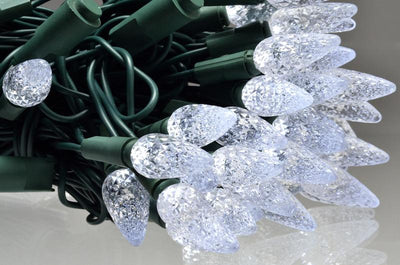 BLOWOUT 25 Outdoor Cool White LED C7 Strawberry String Lights, 16.6FT Green Cord, Weatherproof, Expandable