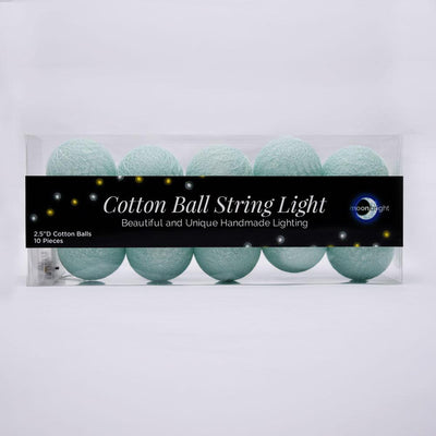 5.5 FT|10 LED Battery Operated Arctic Spa Blue Round Cotton Ball String Lights With Timer