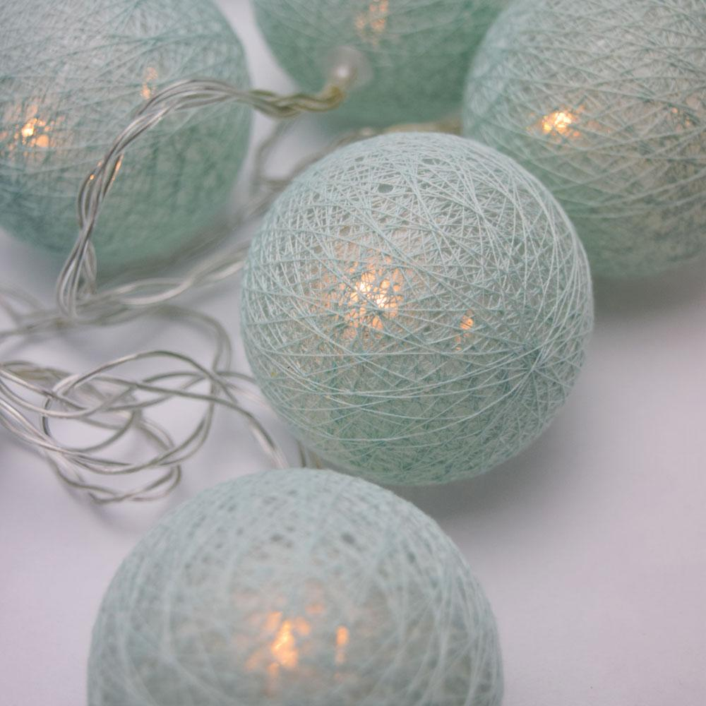 5.5 FT | 10 LED Battery Operated Arctic Spa Blue Round Cotton Ball String Lights With Timer - AsianImportStore.com - B2B Wholesale Lighting and Decor