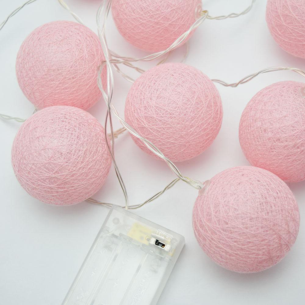 5.5 FT | 10 LED Battery Operated Pink Round Cotton Ball String Lights With Timer