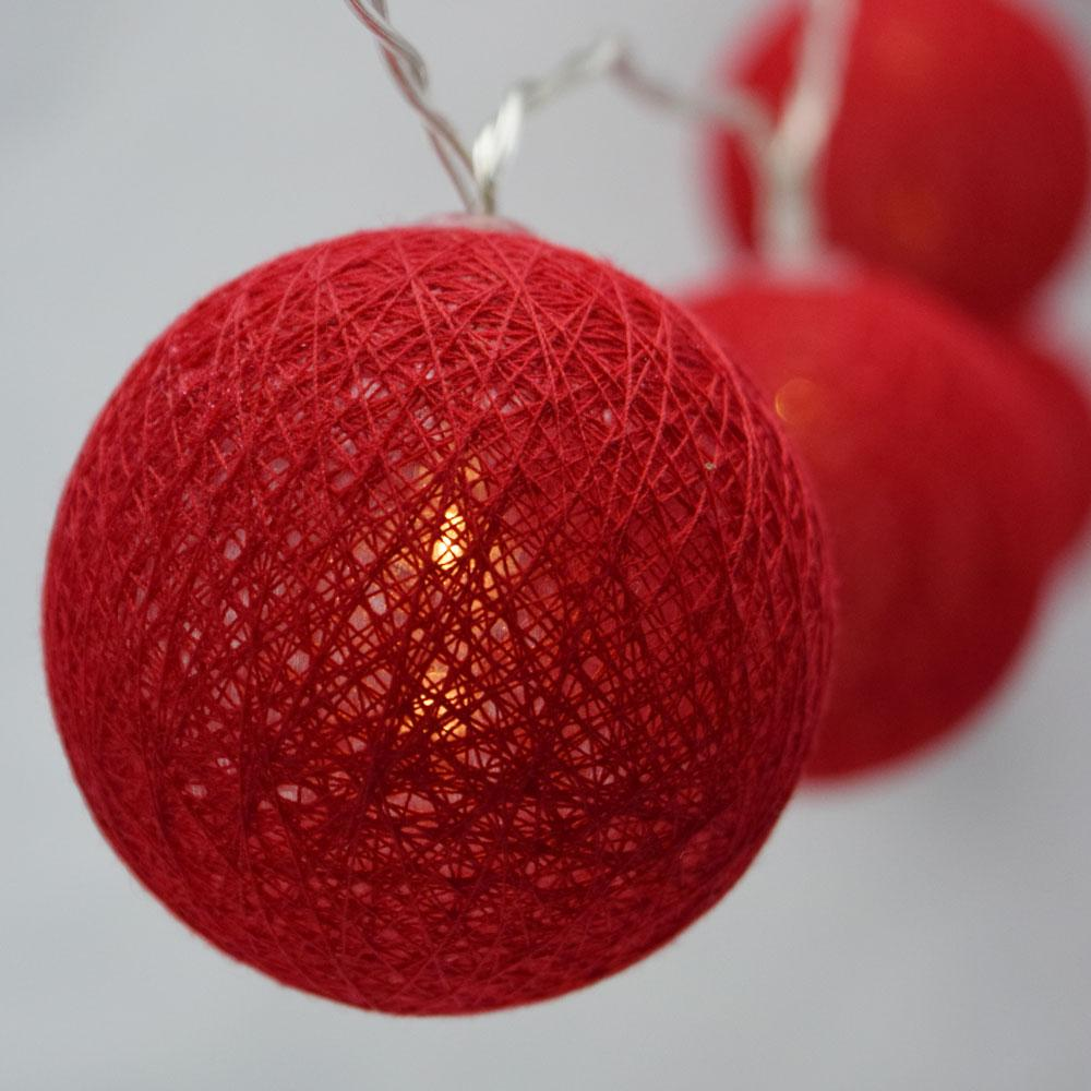 5.5 FT | 10 LED Battery Operated Red Round Cotton Ball String Lights With Timer - AsianImportStore.com - B2B Wholesale Lighting and Decor
