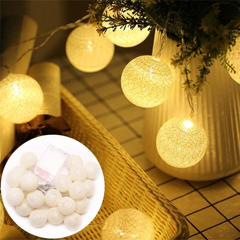 5.5 FT | 10 LED Battery Operated White Round Cotton Ball String Lights With Timer - AsianImportStore.com - B2B Wholesale Lighting and Decor