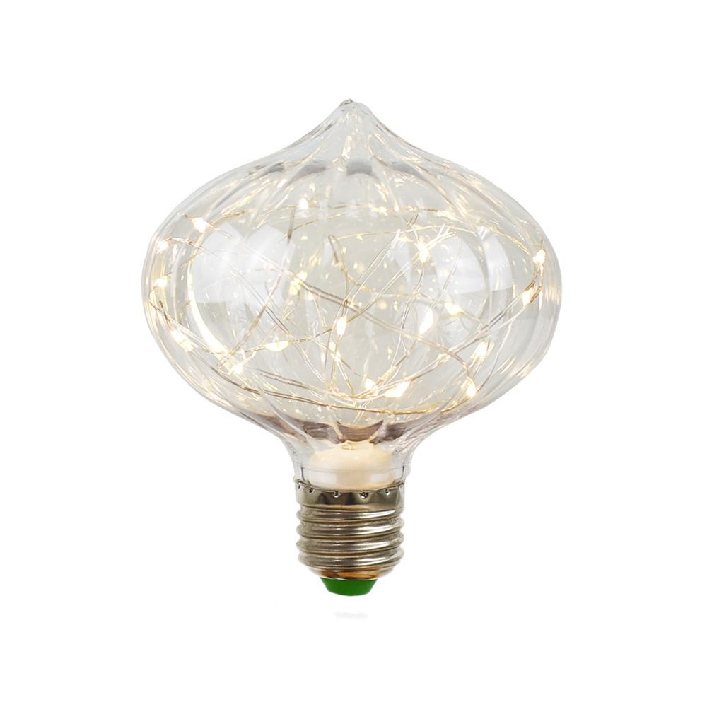 BLOWOUT LED Fairy C100 Ribbed Edison Shatterproof Light Bulb, E26, 3W(25W Equivalent)
