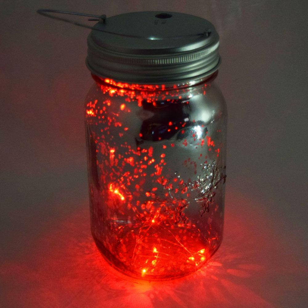 MoonBright™ LED Mason Jar Light, Battery Powered for Wide Mouth - Red (Lid Light Only)