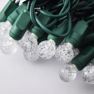 BLOWOUT 70 Outdoor Cool White LED G12 Raspberry String Lights, 23.6 FT Green Cord, Weatherproof, Expandable