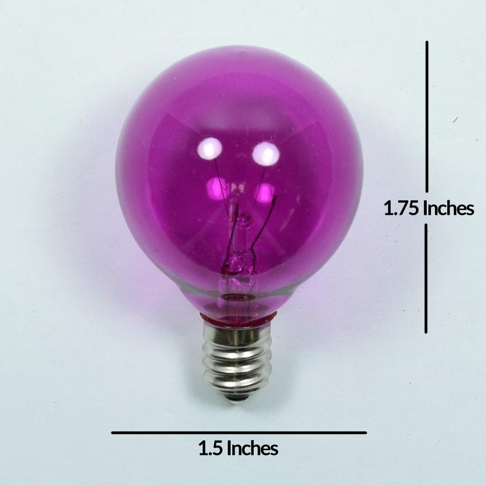 Replacement Transparent Violet 7-Watt Incandescent G40 Globe Light Bulbs, E12 Candelabra Base (25 PACK) - AsianImportStore.com - B2B Wholesale Lighting and Decor