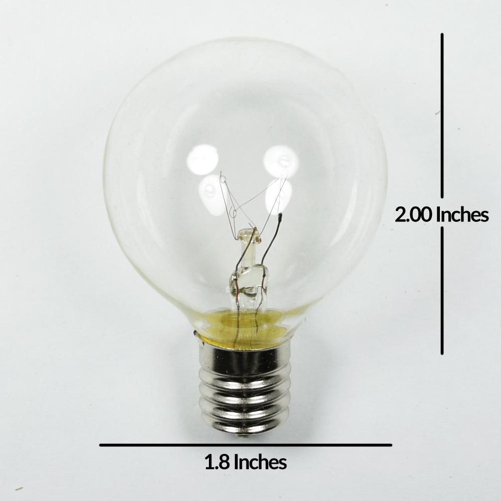 Clear 7-Watt Incandescent G50 Globe Light Bulbs, E17 Intermediate Base (25 PACK)