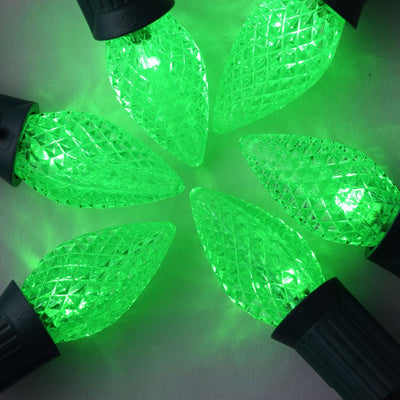 BLOWOUT Replacement Green 3 LED C7 Faceted Christmas Light Bulbs, E12 Base (25 PACK)