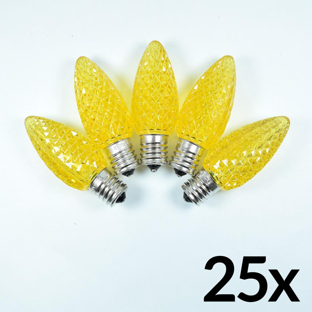 Replacement Yellow 5 LED C9 Faceted Christmas Light Bulbs, E17 Base (25 PACK) - AsianImportStore.com - B2B Wholesale Lighting and Decor