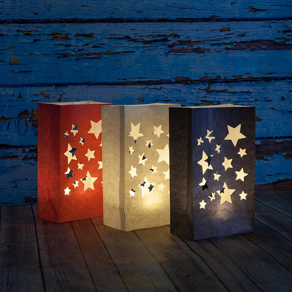 4th of July Red, White Blue Stars Paper Luminary Bags Path Lighting (3 PACK)