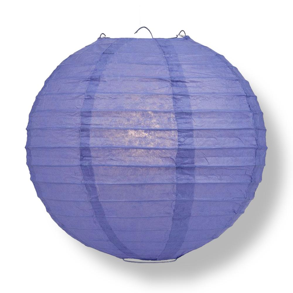 "24"" Astra Blue Round Paper Lantern, Even Ribbing, Chinese Hanging Wedding & Party Decoration - AsianImportStore.com - B2B Wholesale Lighting and Decor"