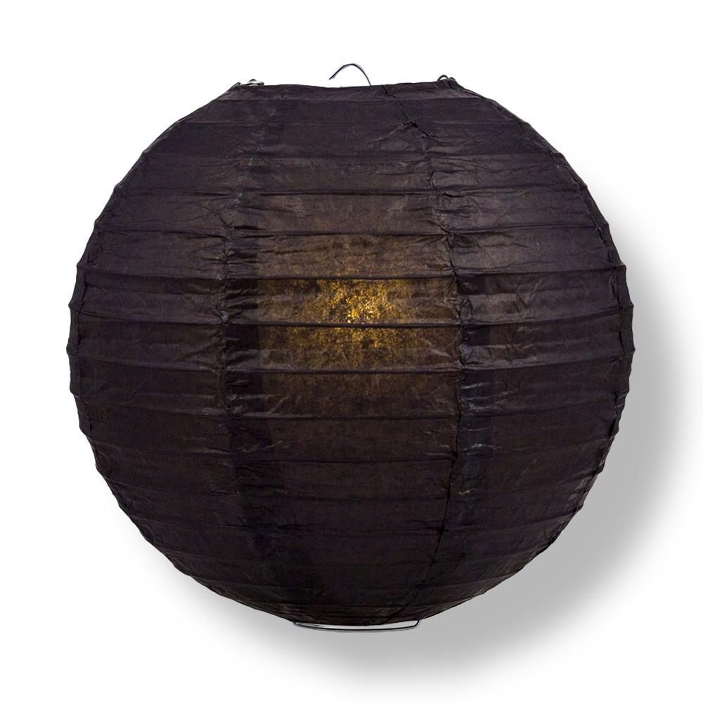 "16"" Black Round Paper Lantern, Even Ribbing, Chinese Hanging Wedding & Party Decoration"