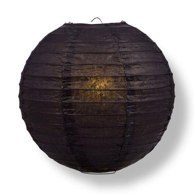 "36"" Black Jumbo Round Paper Lantern, Even Ribbing, Chinese Hanging Wedding & Party Decoration - AsianImportStore.com - B2B Wholesale Lighting and Decor"