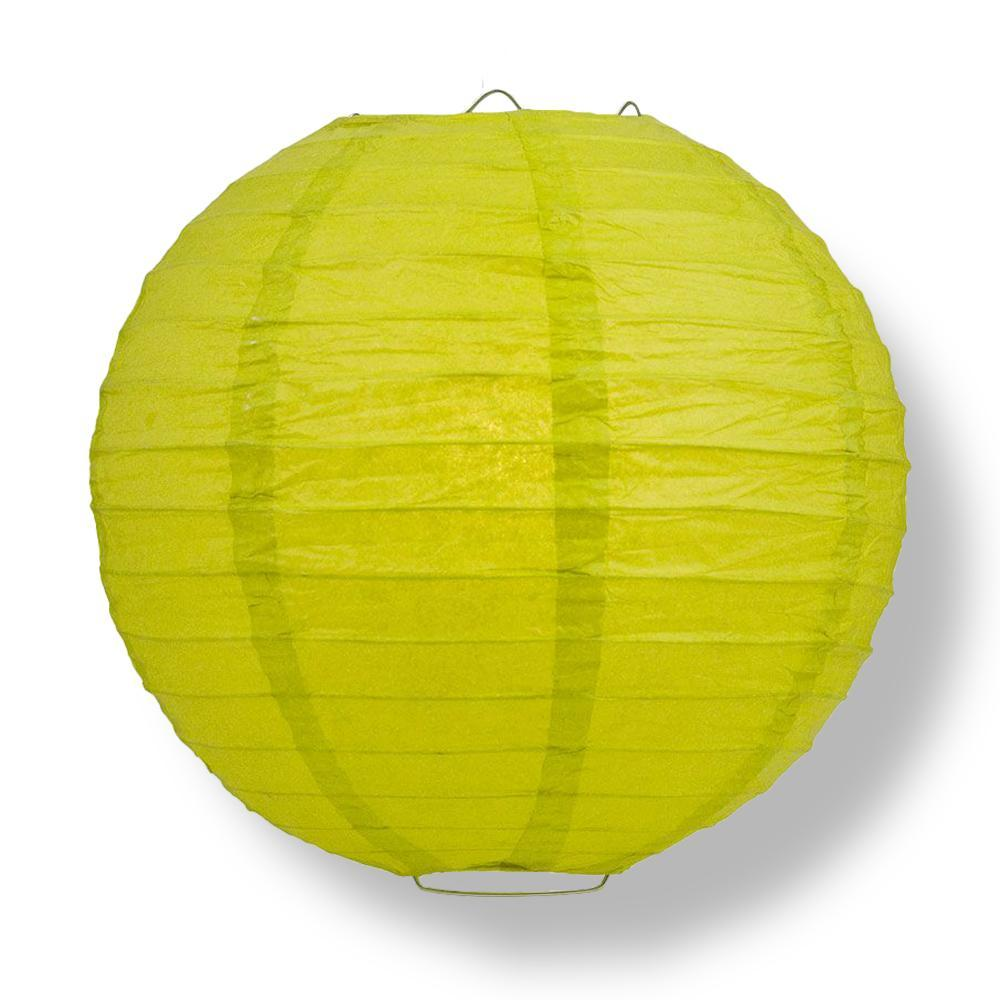 "14"" Chartreuse Round Paper Lantern, Even Ribbing, Chinese Hanging Wedding & Party Decoration"