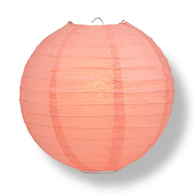 "10"" Roseate / Pink Coral Round Paper Lantern, Even Ribbing, Chinese Hanging Wedding & Party Decoration"