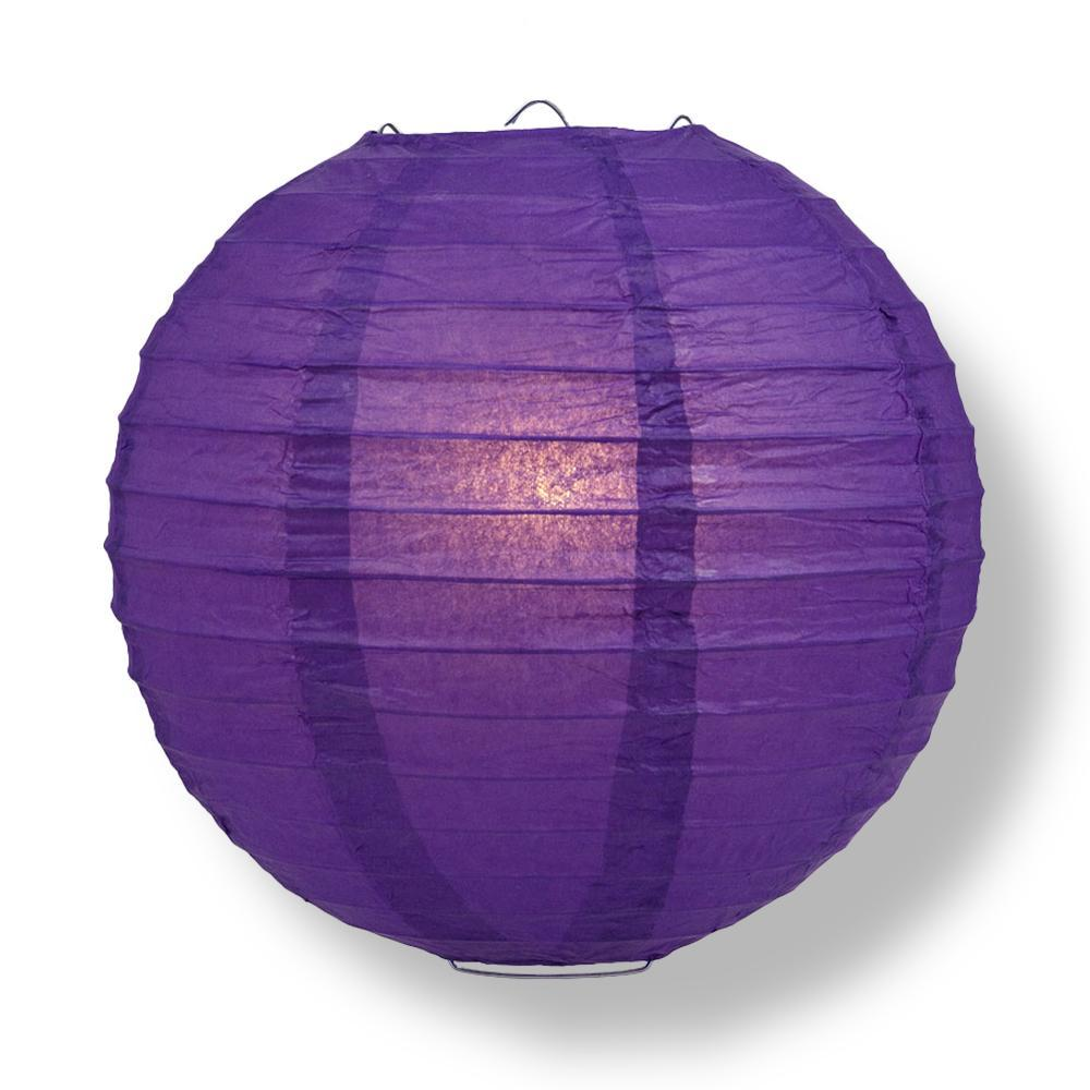 "24"" Royal Purple Round Paper Lantern, Even Ribbing, Chinese Hanging Wedding & Party Decoration - AsianImportStore.com - B2B Wholesale Lighting and Decor"