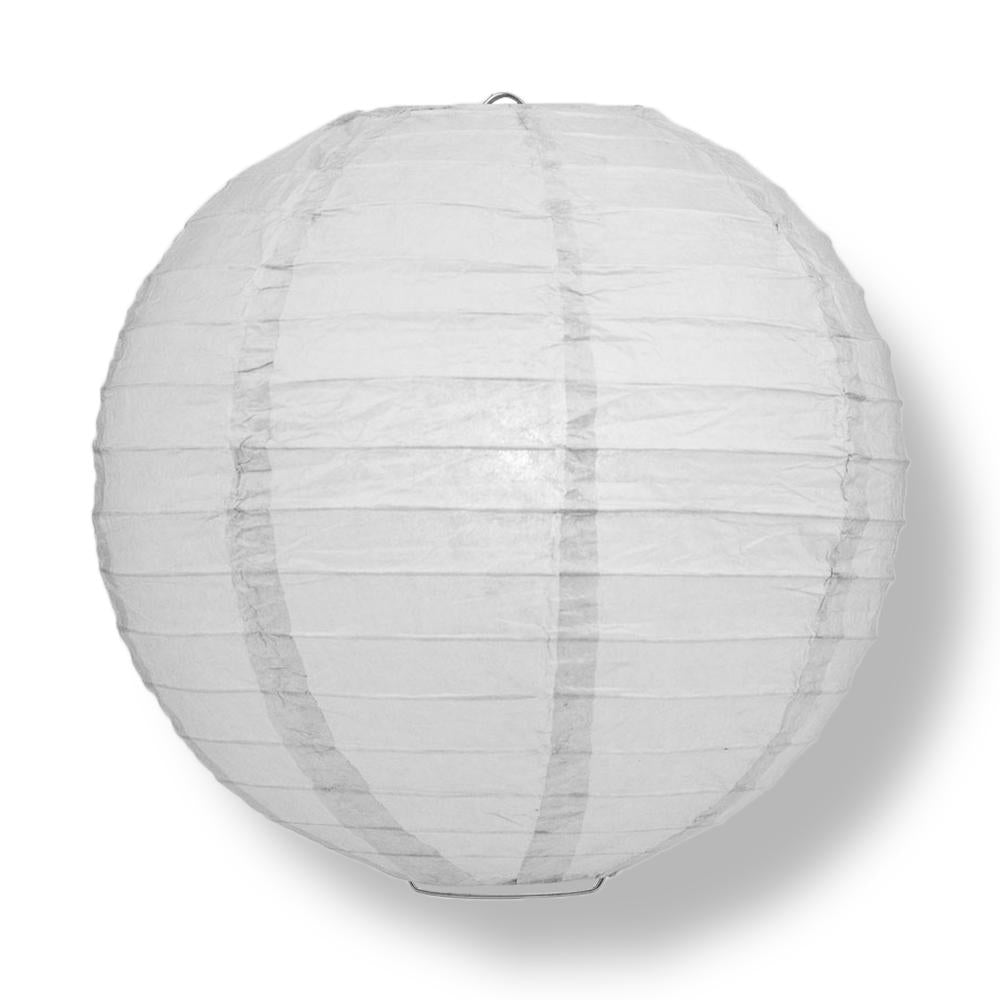 "30"" Grey Jumbo Round Paper Lantern, Even Ribbing, Chinese Hanging Wedding & Party Decoration"