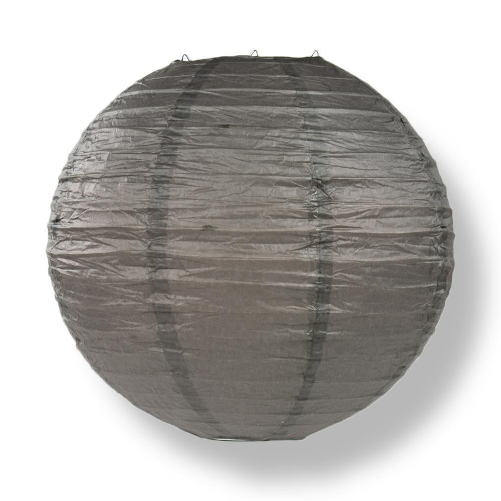 "16"" Driftwood Grey Round Paper Lantern, Even Ribbing, Hanging Decoration"