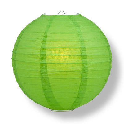"24"" Grass Greenery Round Paper Lantern, Even Ribbing, Chinese Hanging Wedding & Party Decoration"