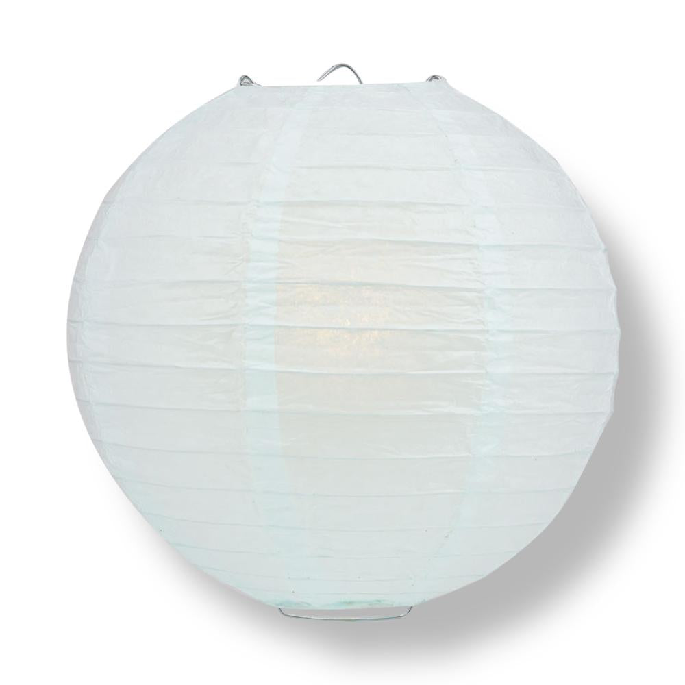 "10"" Arctic Spa Blue Round Paper Lantern, Even Ribbing, Chinese Hanging Wedding & Party Decoration"