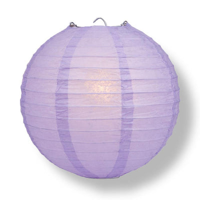 "16"" Lavender Round Paper Lantern, Even Ribbing, Chinese Hanging Wedding & Party Decoration - AsianImportStore.com - B2B Wholesale Lighting and Decor"