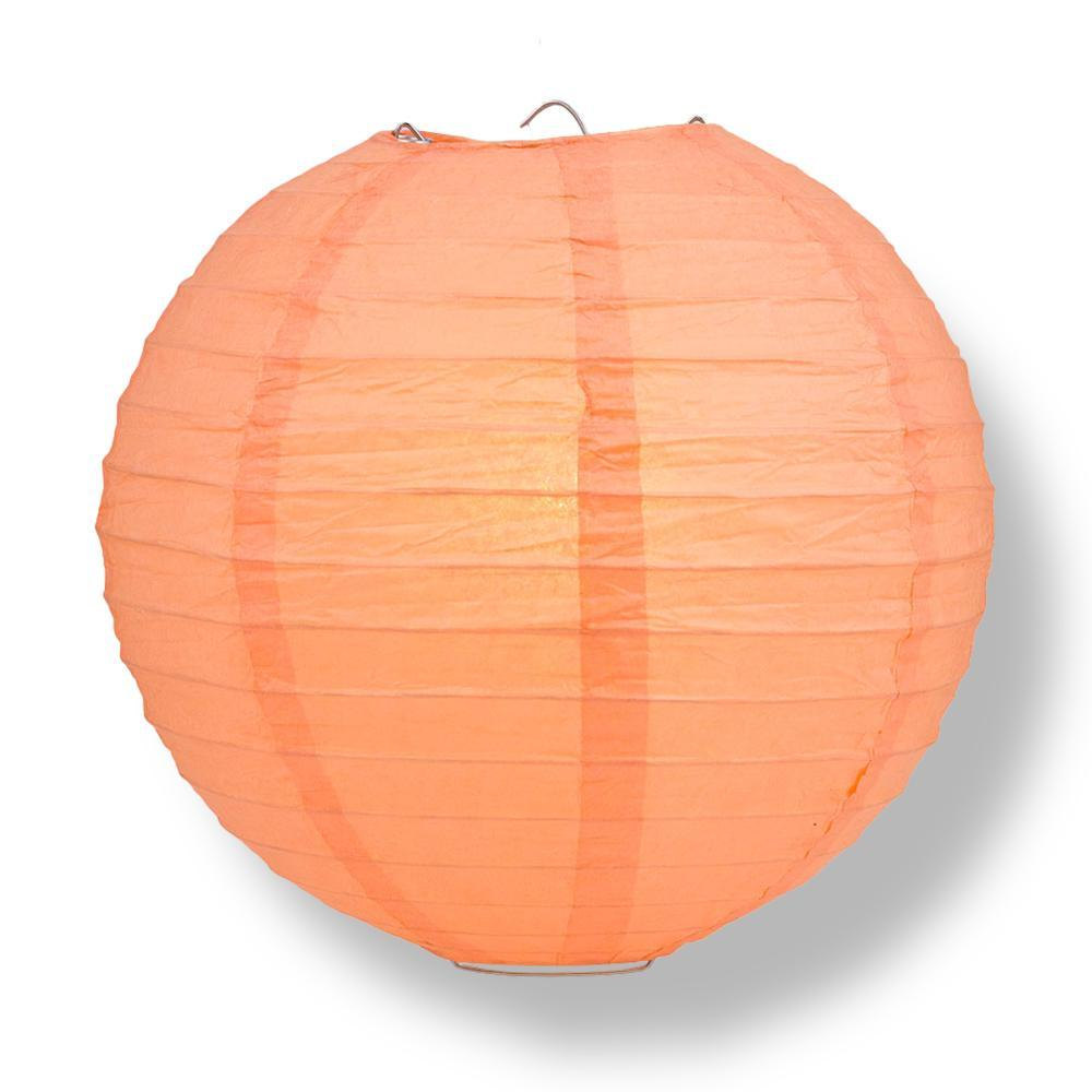 "14"" Peach / Orange Coral Round Paper Lantern, Even Ribbing, Chinese Hanging Wedding & Party Decoration"