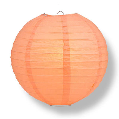 "24"" Peach / Orange Coral Round Paper Lantern, Even Ribbing, Chinese Hanging Wedding & Party Decoration"