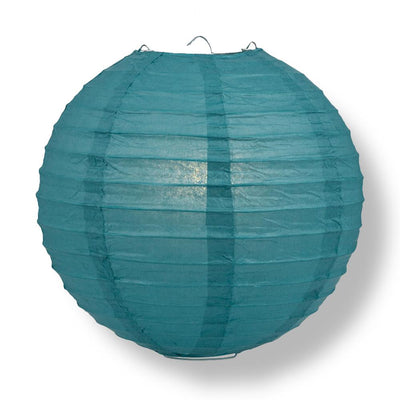 "20"" Tahiti Teal Round Paper Lantern, Even Ribbing, Chinese Hanging Wedding & Party Decoration"