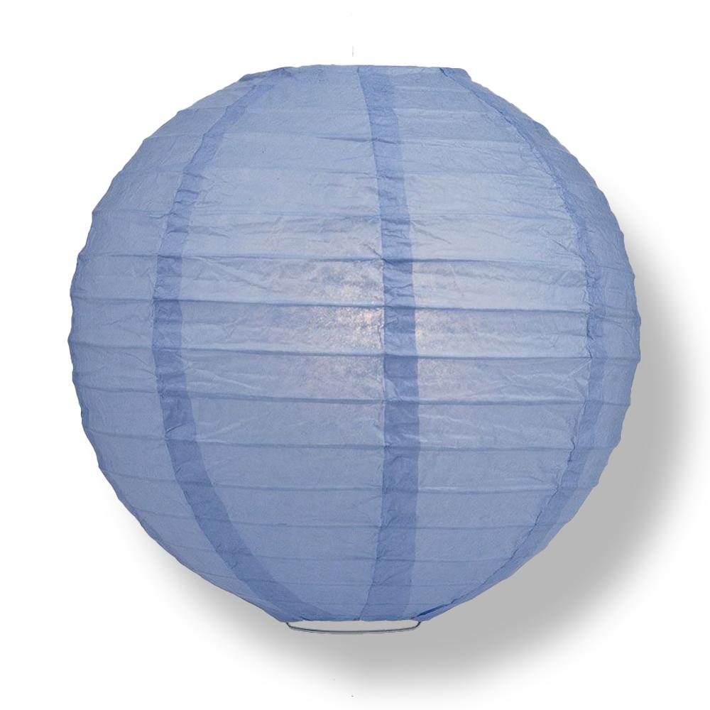 "14"" Serenity Blue Round Paper Lantern, Even Ribbing, Chinese Hanging Decoration for Weddings and Parties"