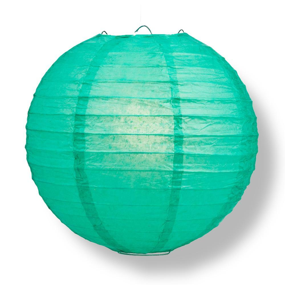 "24"" Teal Green Round Paper Lantern, Even Ribbing, Chinese Hanging Wedding & Party Decoration - AsianImportStore.com - B2B Wholesale Lighting and Decor"
