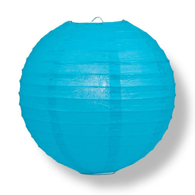 "16"" Turquoise Round Paper Lantern, Even Ribbing, Chinese Hanging Wedding & Party Decoration - AsianImportStore.com - B2B Wholesale Lighting and Decor"