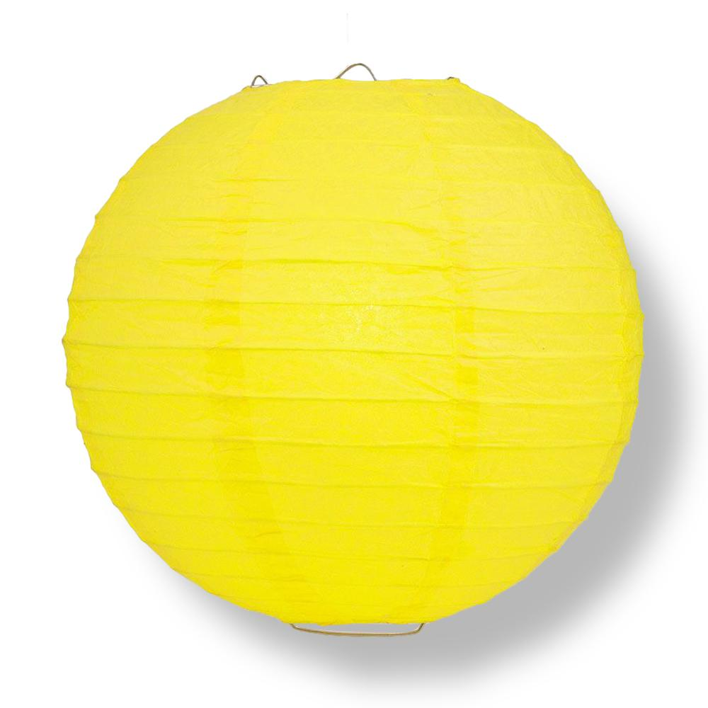 "6"" Yellow Round Paper Lantern, Even Ribbing, Chinese Hanging Wedding & Party Decoration - AsianImportStore.com - B2B Wholesale Lighting and Decor"