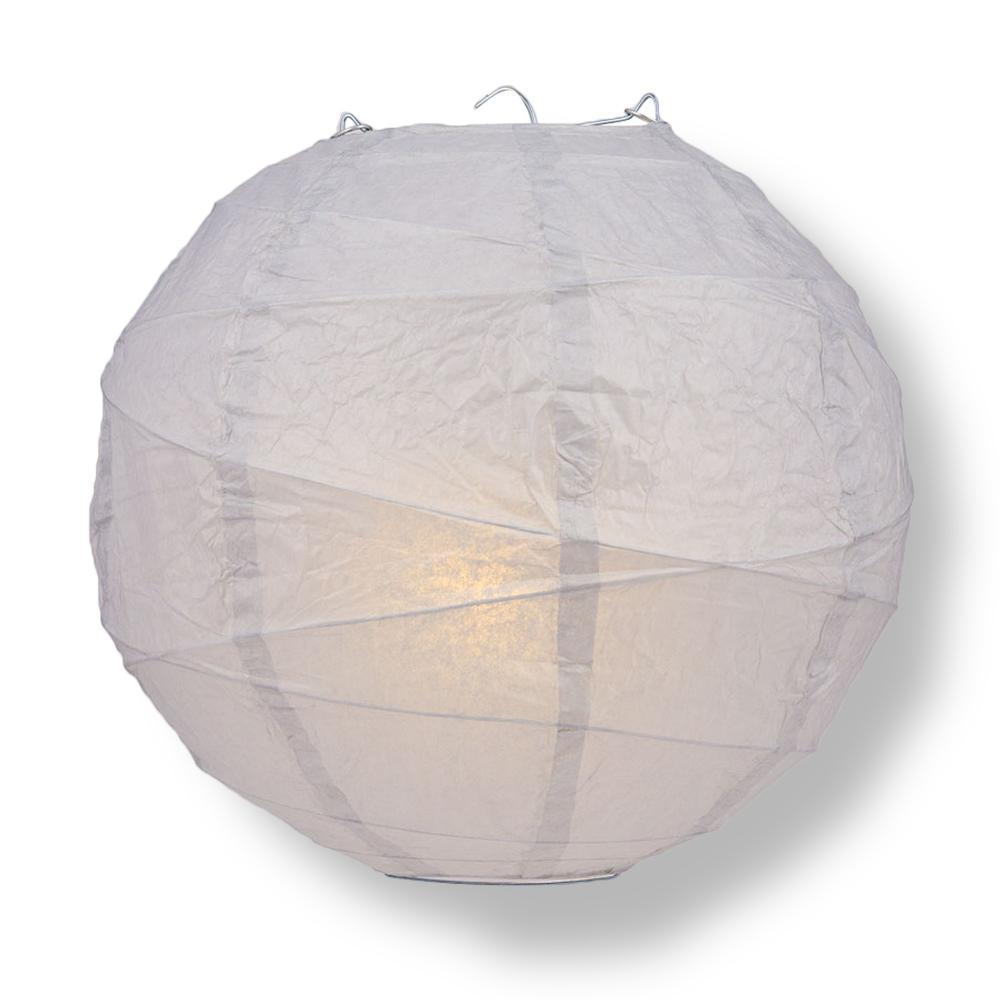 "14"" Gray / Grey Round Paper Lantern, Crisscross Ribbing, Chinese Hanging Wedding & Party Decoration"