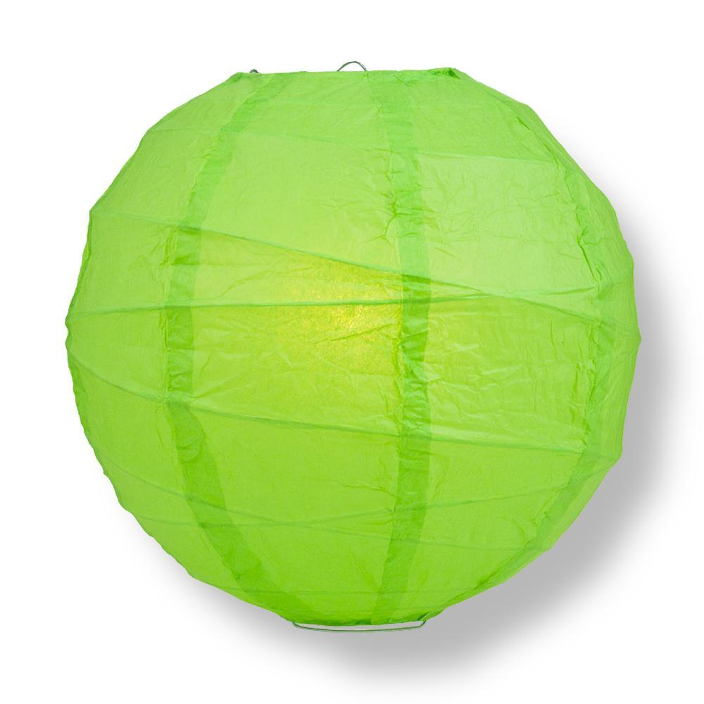 "14"" Grass Greenery Round Paper Lantern, Crisscross Ribbing, Chinese Hanging Wedding & Party Decoration"