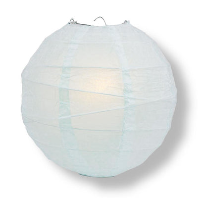 "20"" Arctic Spa Blue Round Paper Lantern, Irregular Ribbed, Chinese Hanging Wedding & Party Decoration"
