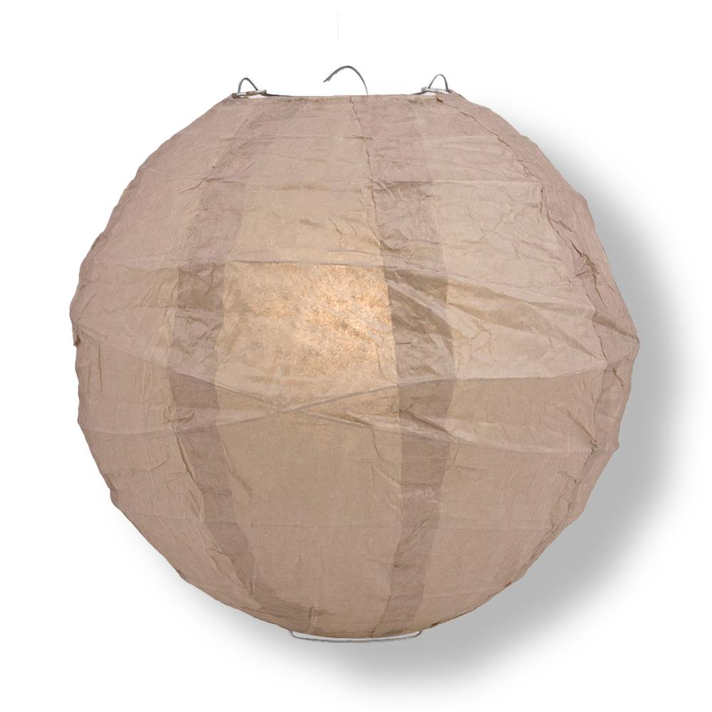 "14"" Mocha / Light Brown Round Paper Lantern, Crisscross Ribbing, Chinese Hanging Wedding & Party Decoration"