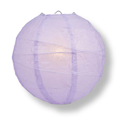 "10"" Lavender Round Paper Lantern, Crisscross Ribbing, Chinese Hanging Wedding & Party Decoration"