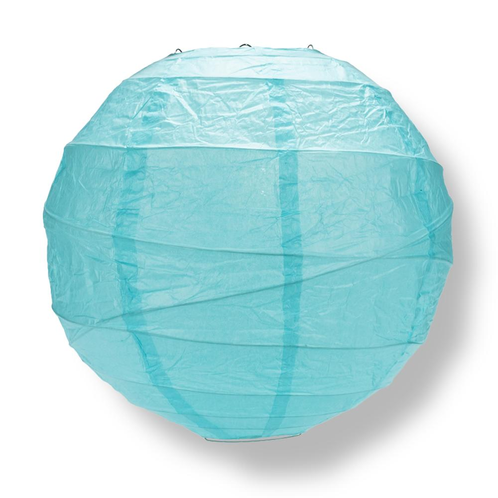 "12"" Baby Blue Round Paper Lantern, Crisscross Ribbing, Hanging Decoration - AsianImportStore.com - B2B Wholesale Lighting and Decor"
