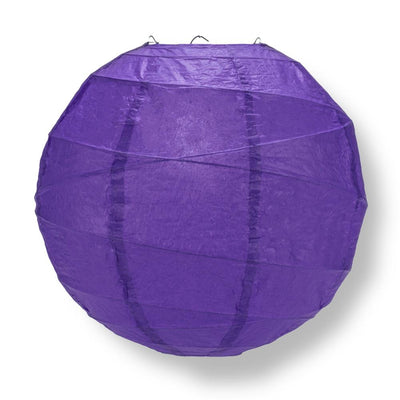 "24"" Plum Purple Round Paper Lantern, Crisscross Ribbing, Hanging Decoration - AsianImportStore.com - B2B Wholesale Lighting and Decor"