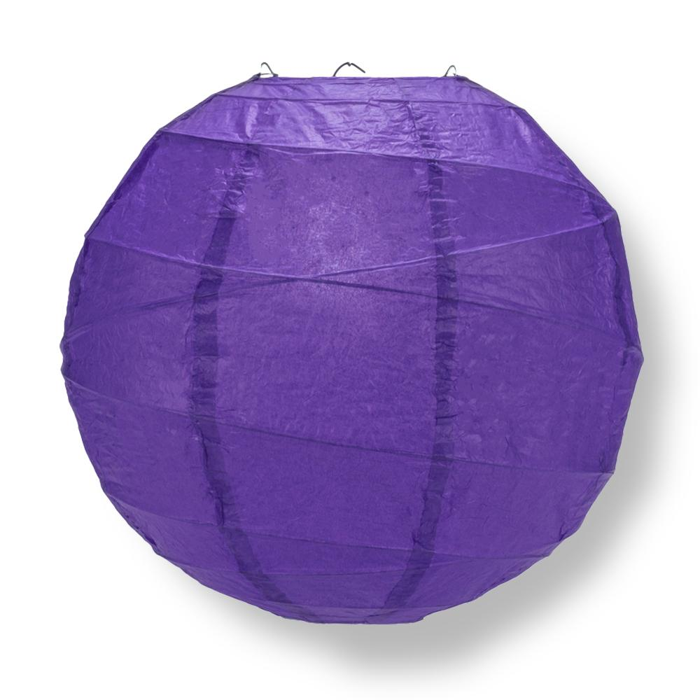 "14"" Plum Purple Round Paper Lantern, Crisscross Ribbing, Chinese Hanging Wedding & Party Decoration"