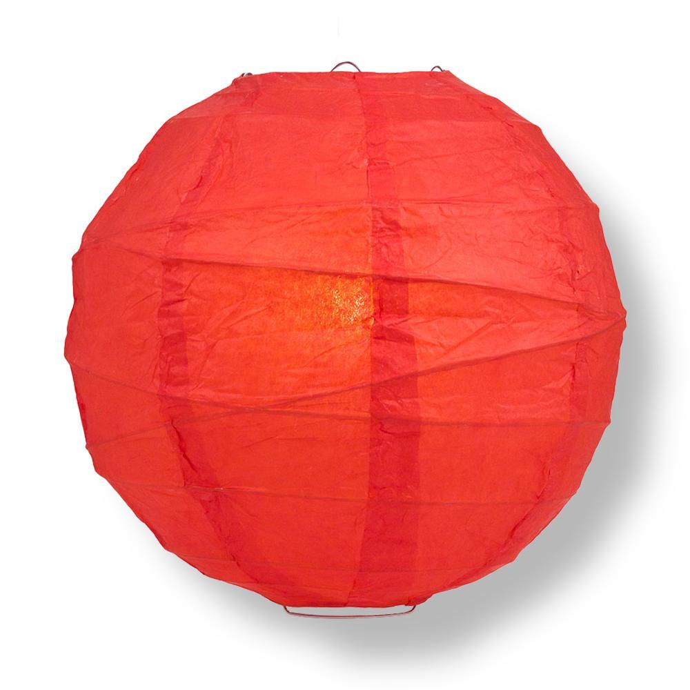 "24"" Red Round Paper Lantern, Crisscross Ribbing, Chinese Hanging Wedding & Party Decoration"
