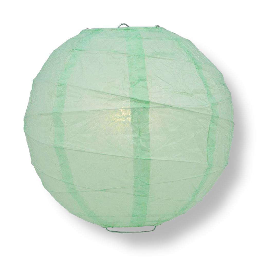"16"" Cool Mint Green Round Paper Lantern, Crisscross Ribbing, Chinese Hanging Wedding & Party Decoration"